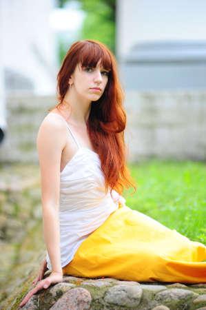 long haired: The girl in an elegant dress