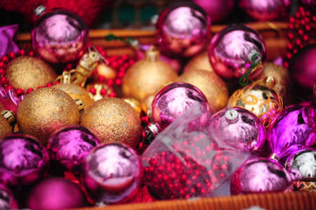 Christmas background with gold and purple beads Stock Photo - 8509440
