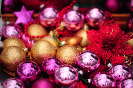 Christmas background with gold and purple beads Stock Photo - 8509435