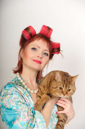 Portrait of a housewife with a cat Stock Photo - 8612067