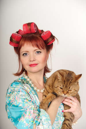 Portrait of a housewife with a cat Stock Photo - 8612069