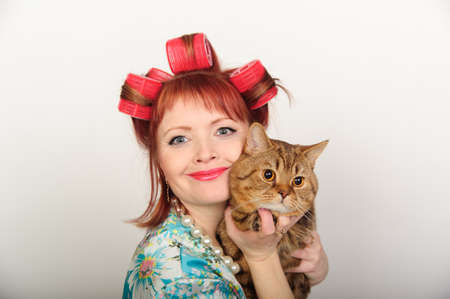 Portrait of a housewife with a cat Stock Photo - 8612063