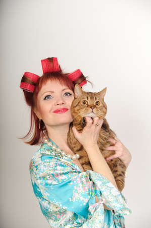 Portrait of a housewife with a cat photo