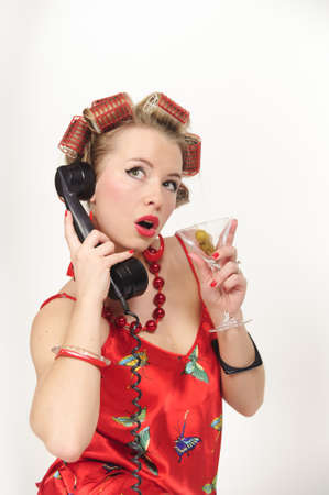 Girl in Pin up pose & Fashion talking on the phone Stock Photo - 8645824