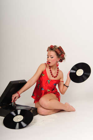 gramophone: Sexy Patriotic American Girl. pin-up concept Stock Photo