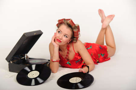 gramaphone: Sexy Patriotic American Girl. pin-up concept Stock Photo