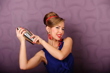martini shaker: girl with a shaker