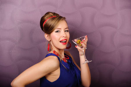 girl with a glass of martini pin up photo