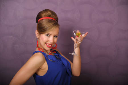 girl with a glass of martini pin up Stock Photo - 8701984