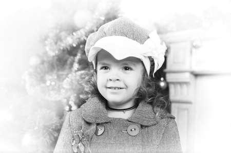 Victorian style portrait of cute little girl photo