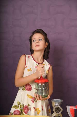Girl with blender Stock Photo - 9366156