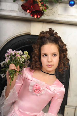 young girls nature: portrait of a girl with a bouquet of flowers