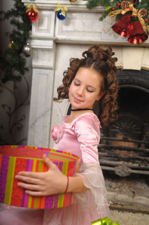 girl received a Christmas gift photo