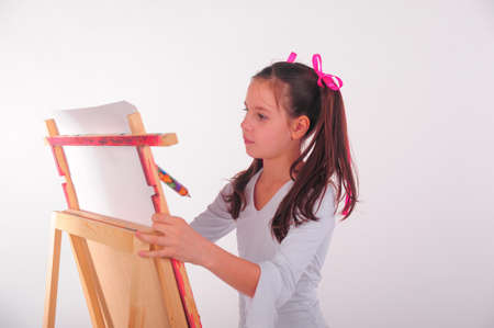 drawing a girl on an easel photo