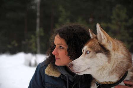 girl with her Siberian Husky photo