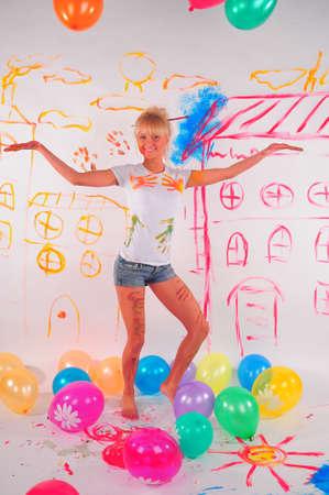 balloons party girl Stock Photo - 9404402