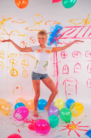 balloons party girl Stock Photo - 9404402