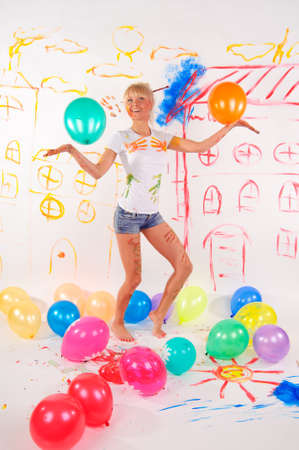 balloons party girl Stock Photo - 9404403