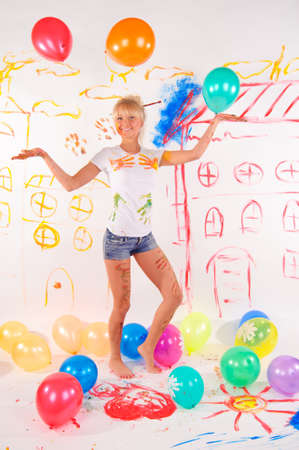 balloons party girl Stock Photo - 9404431