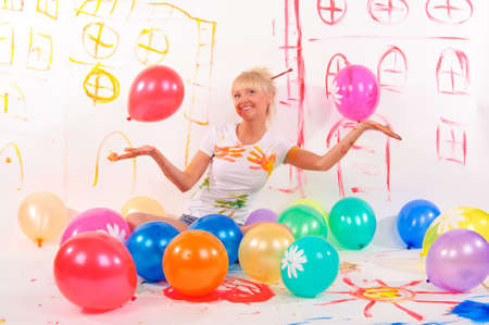 balloons party girl Stock Photo - 9404433