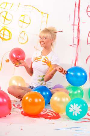 balloons party girl Stock Photo - 9404425