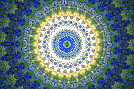 sun s: green with a blue circular pattern