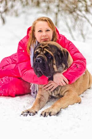 woman and a mastiff Stock Photo - 8910887