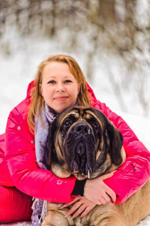 woman and a mastiff Stock Photo - 8910933