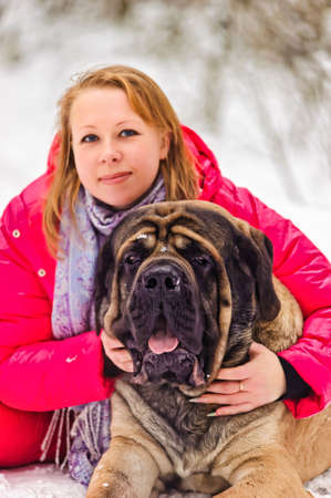 woman and a mastiff Stock Photo - 8910967