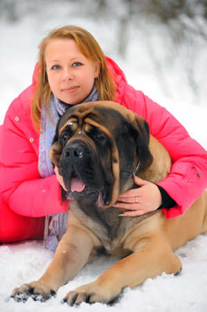 woman and a mastiff Stock Photo - 8910972