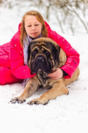 woman and a mastiff Stock Photo - 8910897