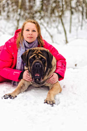 woman and a mastiff Stock Photo - 8910884