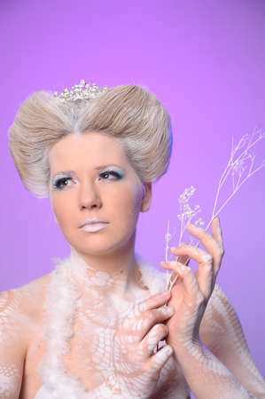 hoarfrost: Portrait of snow queen Stock Photo