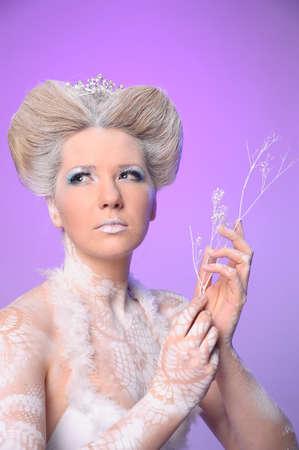 blonde blue eyes: Portrait of snow queen Stock Photo