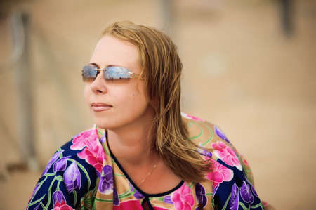 Woman wearing sunglasses photo