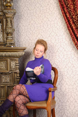 woman reading a book photo