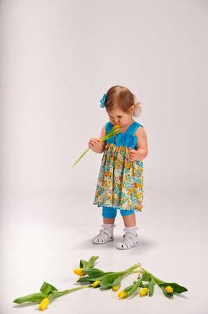 little girl and tulips photo