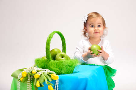 Girl with basket Stock Photo - 9081613