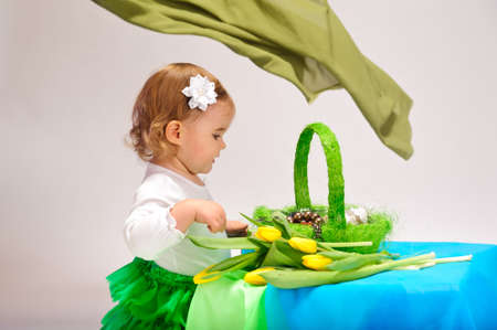 Girl with basket Stock Photo - 9081720