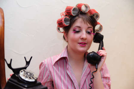 Housewife With TELEPHONE Stock Photo - 9080027