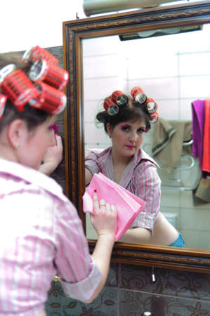 Housewife washing mirror Stock Photo - 9080026