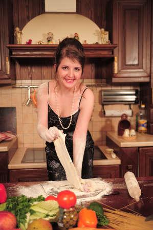 Housewife making dough Stock Photo - 9094716
