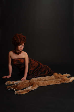 girl and a lynx pelt Stock Photo - 9073861