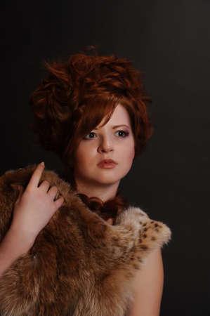 girl and a lynx pelt Stock Photo - 9080123