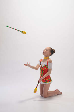 gymnast with mace Stock Photo - 9081143