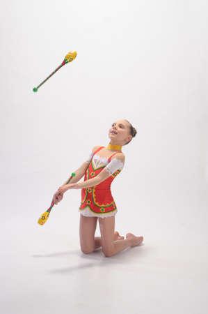 gymnast with mace Stock Photo - 9081146