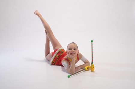 gymnast with mace photo