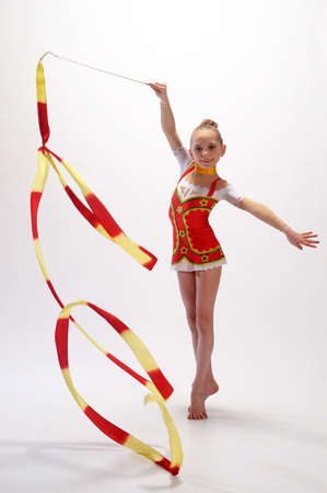 twirling: Rhythmic gymnastic Stock Photo