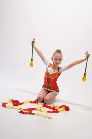 gymnast with mace photo