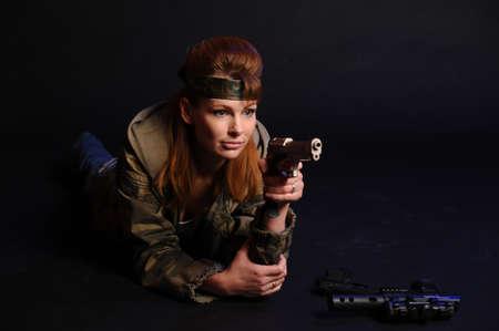 girl with gun Stock Photo - 9215758